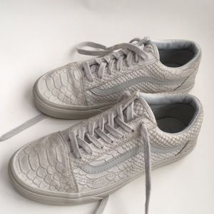 Vans off the wall leather suede croc sneakers